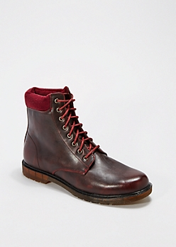 Red Laced Combat Boot