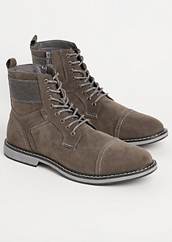 Gray Faux Suede Cap Toe Boot By XRay