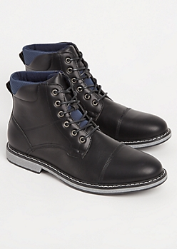 Black Faux Leather Cap Toe Boot By XRay