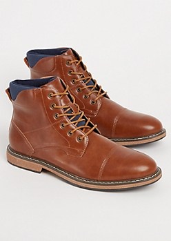 Cognac Faux Leather Cap Toe Boot By XRay