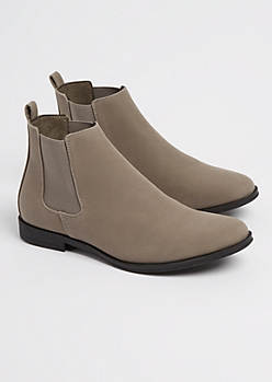 Light Gray Faux Suede Chelsea Boot