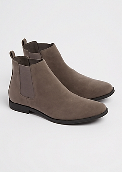Charcoal Gray Faux Suede Chelsea Boot