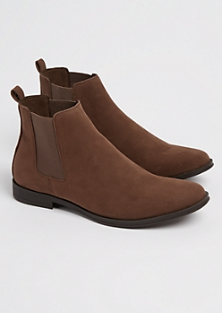 Dark Brown Faux Suede Chelsea Boot