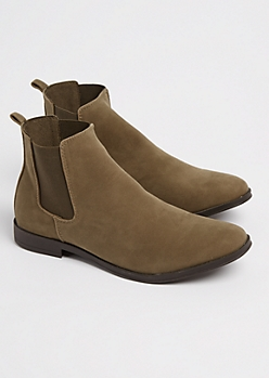 Dark Olive Faux Suede Chelsea Boot