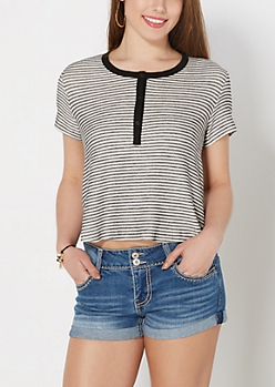 Striped Knit Henley Tee