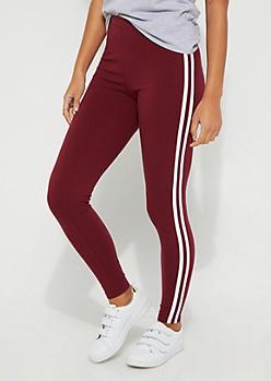 Burgundy Striped High-Rise Legging