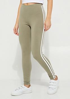 Olive Striped High-Rise Legging