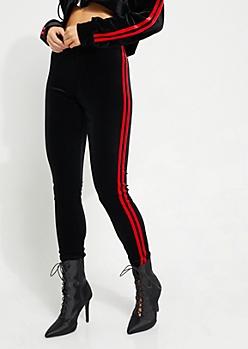 Black Varsity Velvet High Rise Legging