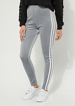 Gray Velvet Stripe High Rise Legging
