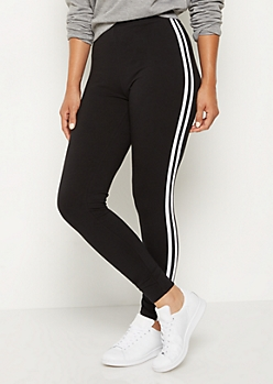 Black Striped High Rise Legging