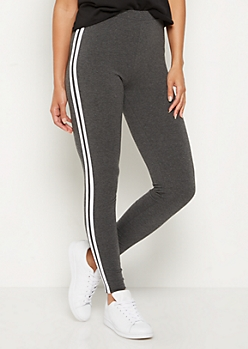 Charcoal Gray Striped High Rise Legging
