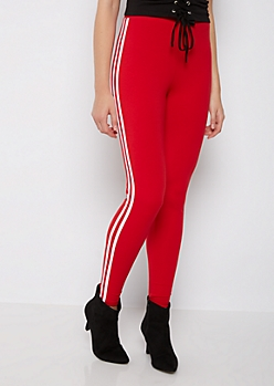 Red Striped High Rise Legging