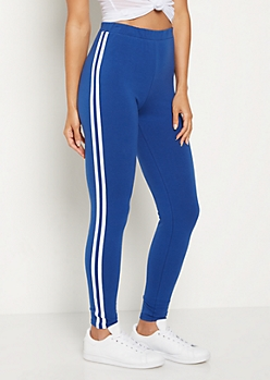 Blue Striped High Rise Legging