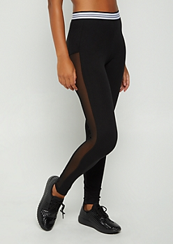 Black Mesh Striped High Rise Legging
