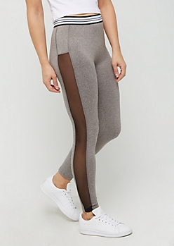Heather Gray Mesh Striped High Rise Legging