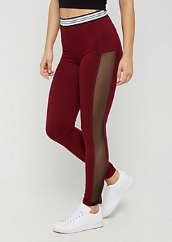 Burgundy Mesh Striped High Rise Legging