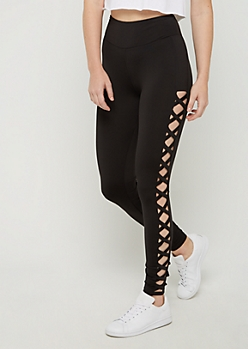 Black Lattice Ankle High Rise Legging