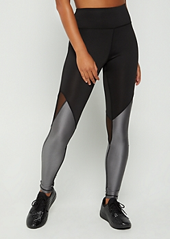 Silver Metallic Mesh Paneled High Rise Legging