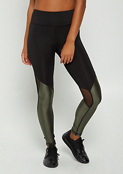 Olive Metallic Mesh Paneled High Rise Legging