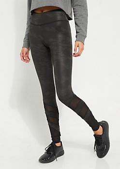 Black Camo Faux Leather Mesh Cutout Leggings