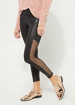 Black Fishnet Insert Faux Leather Leggings