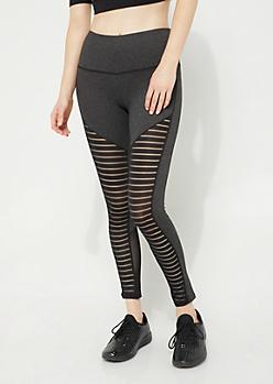 Gray Mesh Panel Leggings