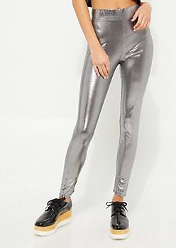 Silver Metallic Knit Liquid Leggings