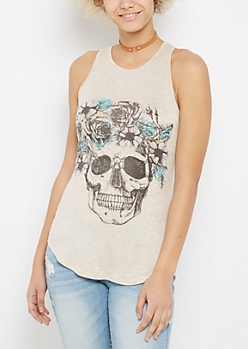 Flower Crown Skull High Neck Tank