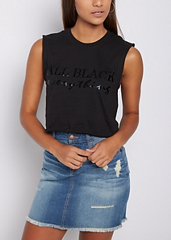 All Black Everything Crop Muscle Tank Top