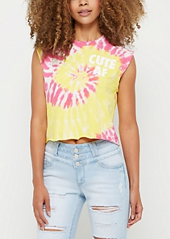 Cute AF Tie Dye Crop Muscle Tank Top