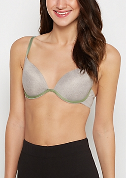 Heather Gray Piped Deep Plunge Push-Up Bra