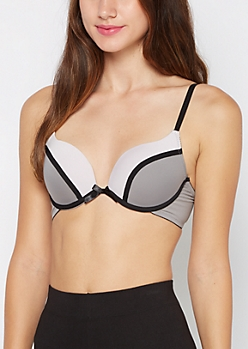 Gray Color Block Deep Plunge Push-Up Bra