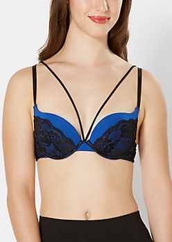 Navy Caged Deep Plunge Push-Up Bra