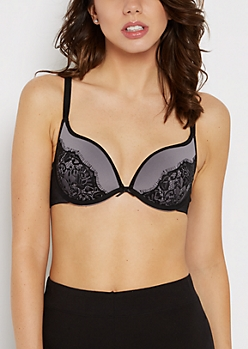 Gray Laced Deep Plunge Push-Up Bra