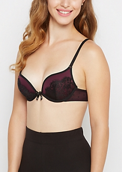 Plum Laced Deep Plunge Push-Up Bra