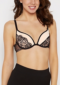Dusty Pink Laced Deep Plunge Push-Up Bra