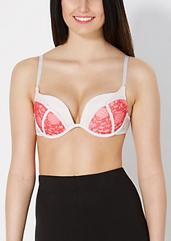 Coral & Pink Lace Deep Plunge Push-Up Bra