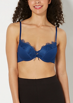 Eyelash Lace Deep Plunge Push-Up Bra
