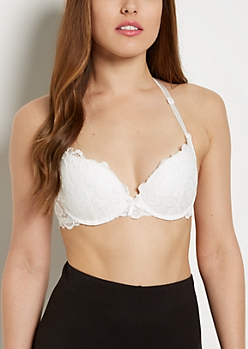 White Lace Butterfly Deep Plunge Bra