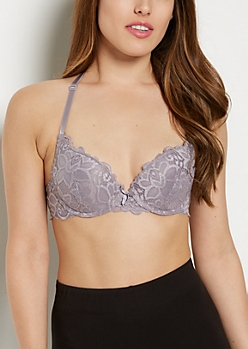 Violet Lace Butterfly Deep Plunge Bra