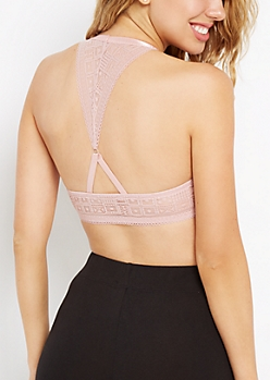 Dusted Pink Geo Lace Deep Push-Up Bra