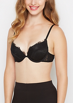 Black Eyelash Lace Deep Plunge Push-Up Bra