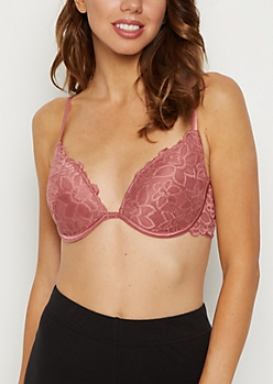 Dusty Pink Floral Lace Deep Plunge Bra