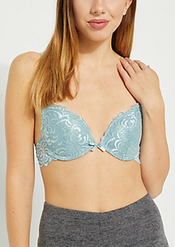 Light Blue Swirling Lace Deep Plunge Bra
