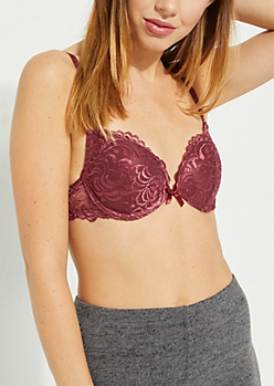 Burgundy Swirling Lace Deep Plunge Bra