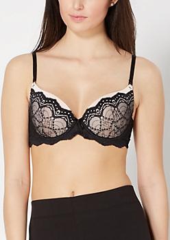 Dotted Lace Demi Push-Up Bra