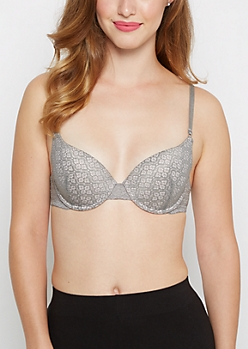 Gray Medallion Deep Plunge Push-Up Bra