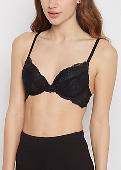Black Seashell Lace Double Push-Up Bra