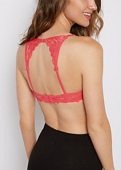Hot Pink Butterfly Lace Double Push-Up Bra