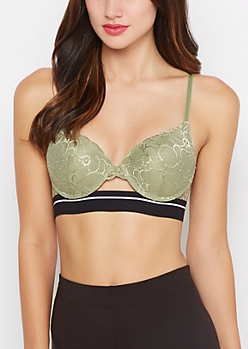 Olive Lace Banded Double Push-Up Bra